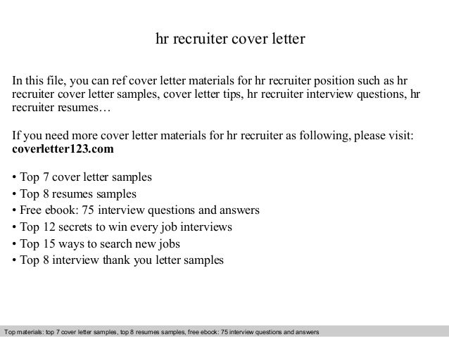 Hr recruiter cover letter for Cover letter examples for recruiter position