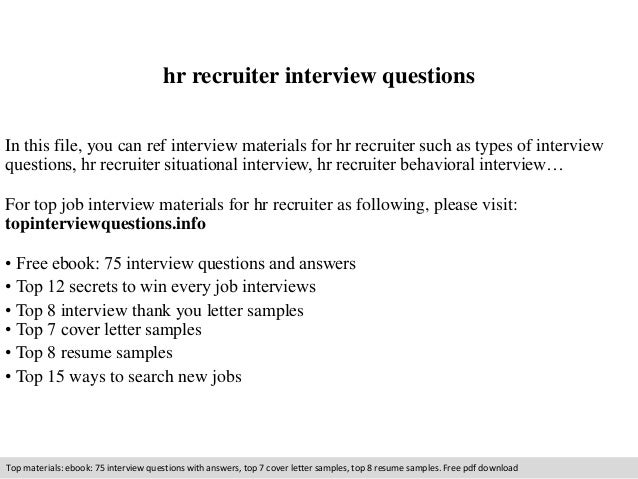 Hr Recruiter Interview Questions In This File, You Can Ref Interview  Materials For Hr Recruiter ...