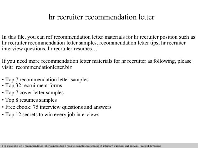 Hr recruiter recommendation letter for Cover letter examples for recruiter position