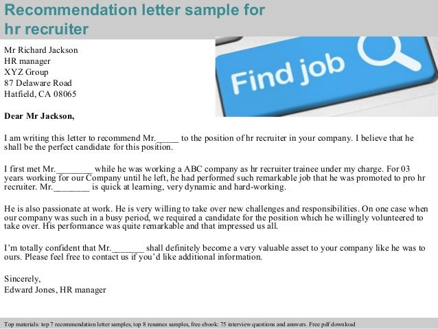 sample letter to recruiter