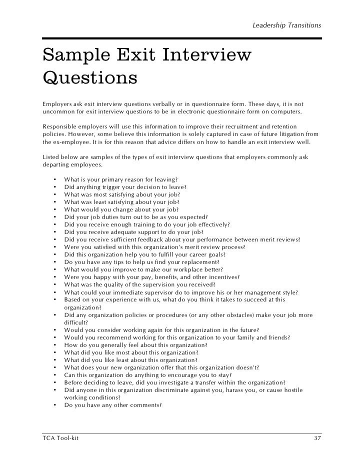 Hr Sample Exit Interview Questions