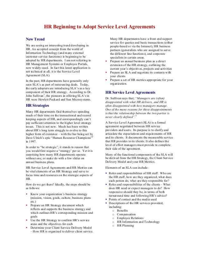 Hr Service Level Agreements  Articlemetrics