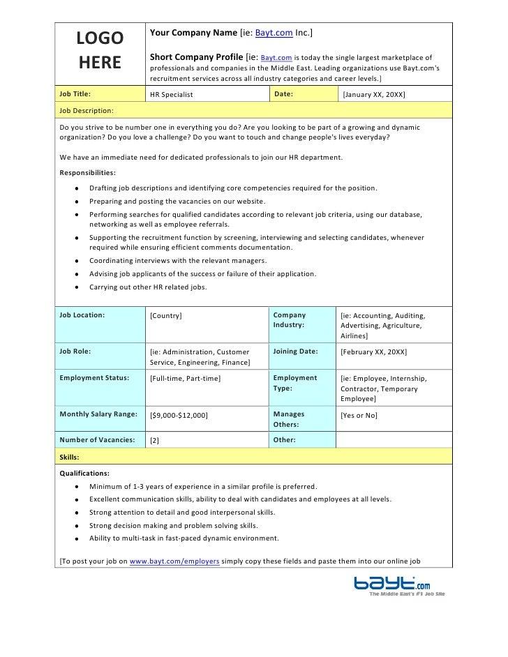HR Specialist Job Description Template by Bayt.com