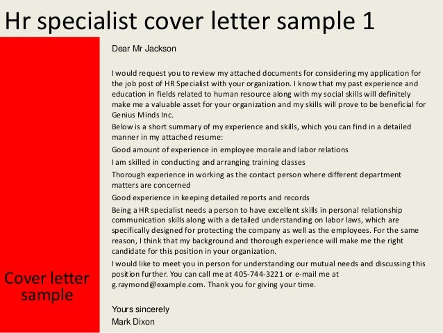 Human Resources Specialist Cover Letter