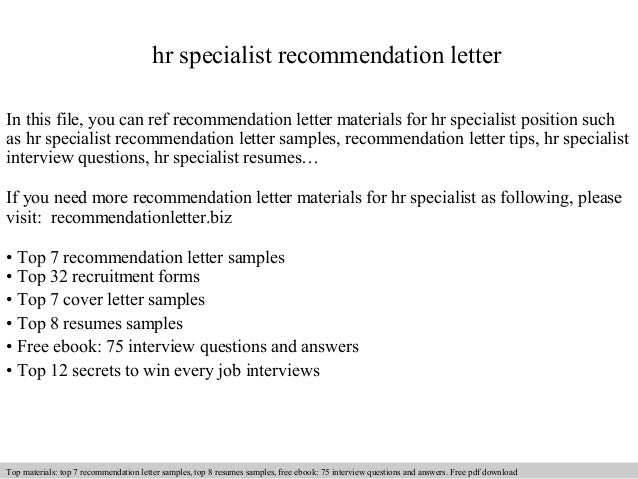 Hr Specialist Recommendation Letter