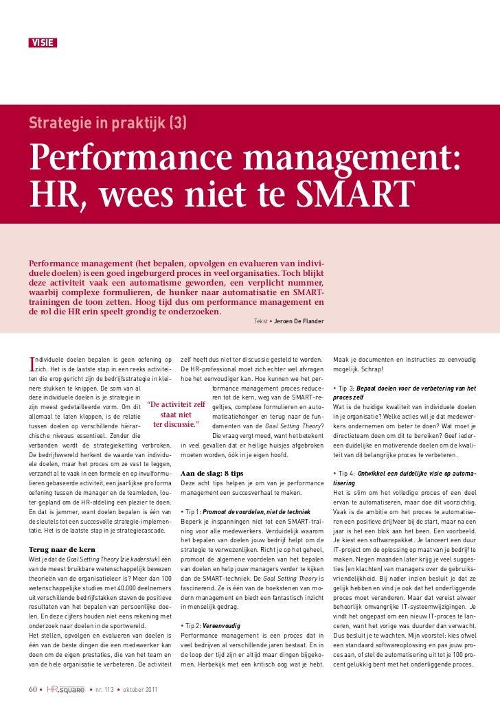 VISIEStrategie in praktijk (3)Performance management:HR, wees niet te SMARTPerformance management (het bepalen, opvolgen e...