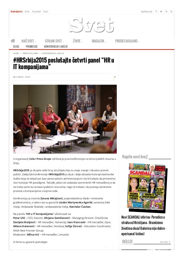 Aplikacije   Nedeljnici: Svet Scandal Star   NAŠ SVET  STRANI SVET  ŽIVOT  MAGAZIN  PREDSTAVLJAMO  #HRSrbija2015...