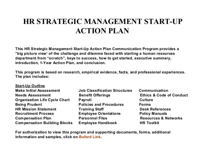 Hr Strategic Management Start Up Action Plan