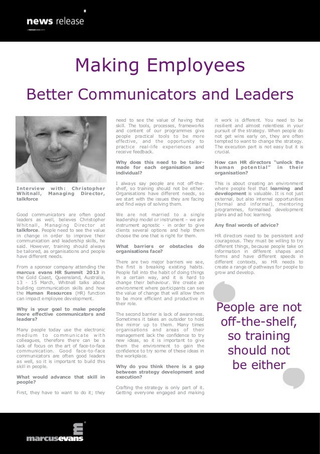Making Employees    Better Communicators and Leaders                                            need to see the value of h...