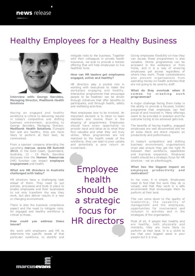 Healthy Employees for a Healthy Business                                              mitigate risks to the business. Toge...