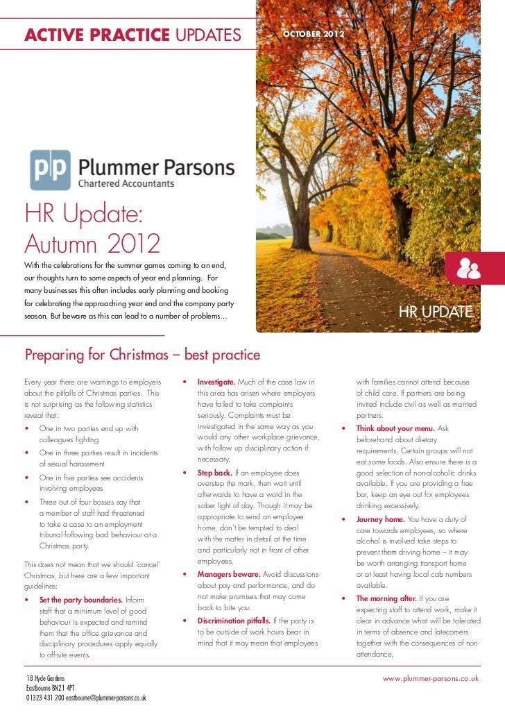 ACTIVE PRACTICE UPDATES                                                           OCTOBER 2012HR Update:Autumn 2012With th...