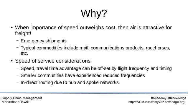 Supply Chain Management Mohammad Tawfik #AcademyOfKnowledge http://SCM.AcademyOfKnowledge.org Why? ● When importance of sp...