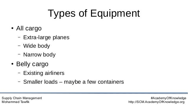 Supply Chain Management Mohammad Tawfik #AcademyOfKnowledge http://SCM.AcademyOfKnowledge.org Types of Equipment ● All car...
