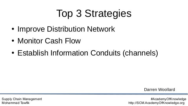Supply Chain Management Mohammad Tawfik #AcademyOfKnowledge http://SCM.AcademyOfKnowledge.org Top 3 Strategies ● Improve D...