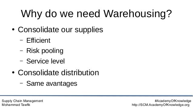 Supply Chain Management Mohammad Tawfik #AcademyOfKnowledge http://SCM.AcademyOfKnowledge.org Why do we need Warehousing? ...