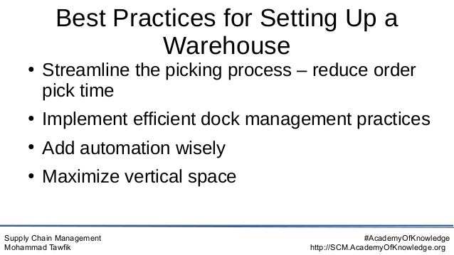 Supply Chain Management Mohammad Tawfik #AcademyOfKnowledge http://SCM.AcademyOfKnowledge.org Best Practices for Setting U...