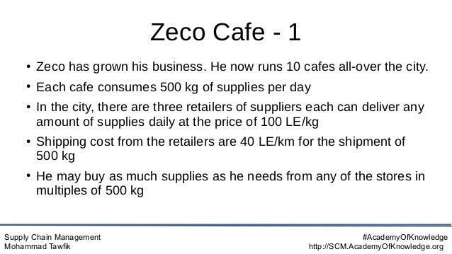 Supply Chain Management Mohammad Tawfik #AcademyOfKnowledge http://SCM.AcademyOfKnowledge.org Zeco Cafe - 1 ● Zeco has gro...