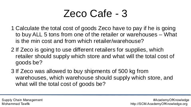 Supply Chain Management Mohammad Tawfik #AcademyOfKnowledge http://SCM.AcademyOfKnowledge.org Zeco Cafe - 3 1 Calculate th...