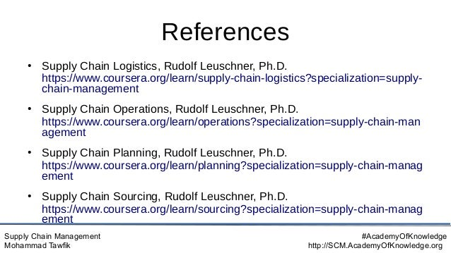 Supply Chain Management Mohammad Tawfik #AcademyOfKnowledge http://SCM.AcademyOfKnowledge.org References ● Supply Chain Lo...