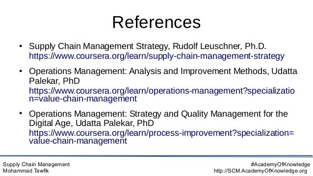 Supply Chain Management Mohammad Tawfik #AcademyOfKnowledge http://SCM.AcademyOfKnowledge.org References ● Supply Chain Ma...