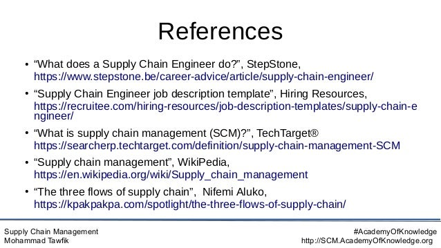 """Supply Chain Management Mohammad Tawfik #AcademyOfKnowledge http://SCM.AcademyOfKnowledge.org References ● """"What does a Su..."""