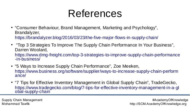 """Supply Chain Management Mohammad Tawfik #AcademyOfKnowledge http://SCM.AcademyOfKnowledge.org References ● """"Consumer Behav..."""