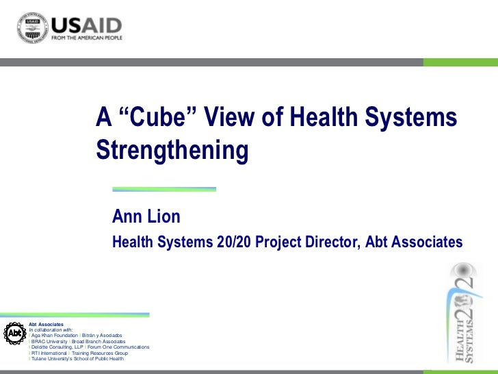 "A ""Cube"" View of Health Systems Strengthening<br />Ann Lion <br />Health Systems 20/20 Project Director, Abt Associates<br />"