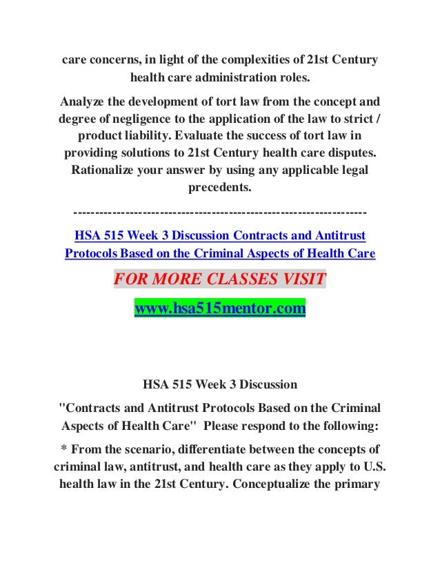 Hsa 515 law and health