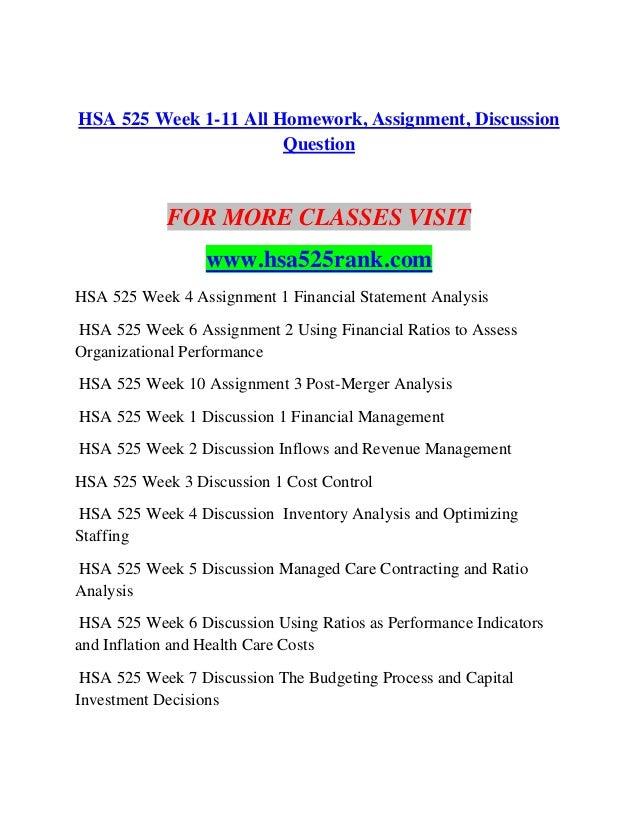 hsa 525 homework week 6