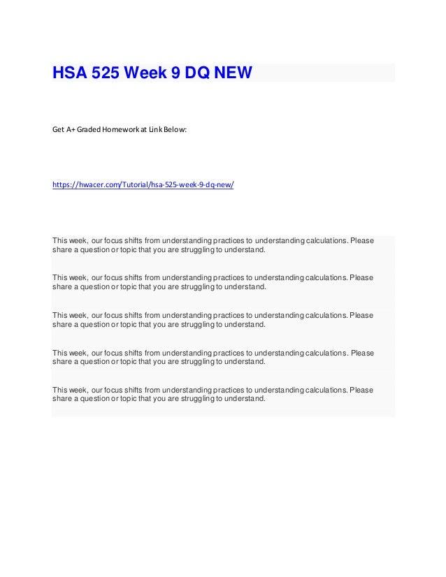 hsa 525 homework week 9