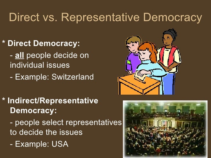 The definition and discussion of direct democracy and representative democracy