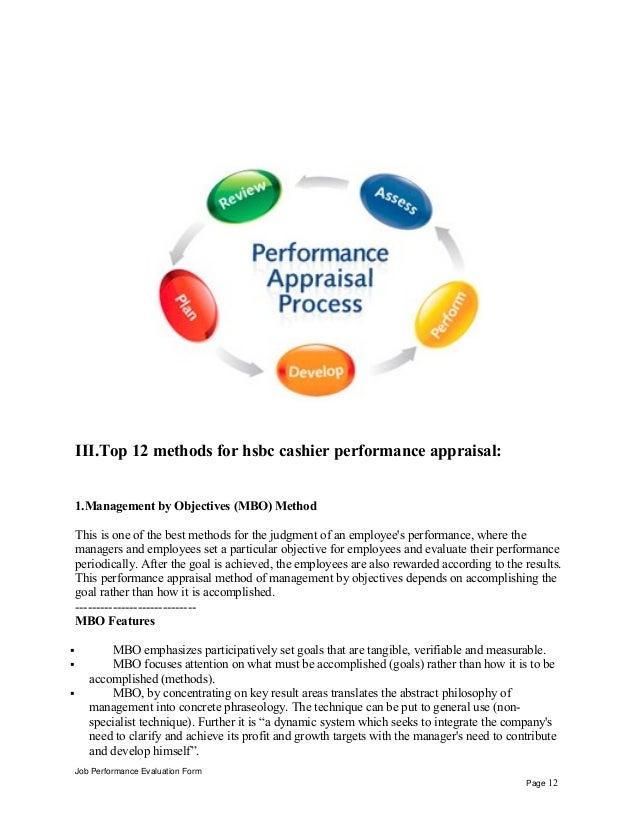 Hsbc cashier performance appraisal