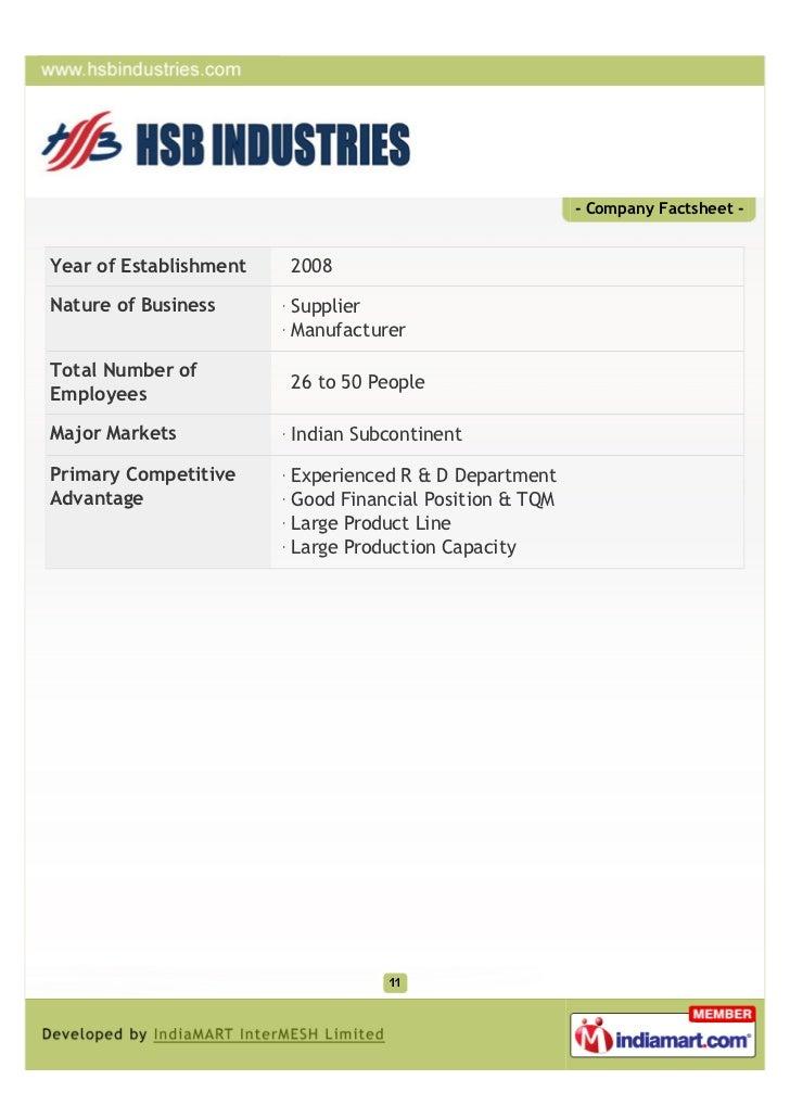 - Company Factsheet -Year of Establishment   2008Nature of Business      Supplier                        ManufacturerTotal...