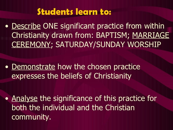 demonstrate how baptism expresses the beliefs of christianity The examples given in the new testament only show reformed christians believe that prospective candidates for baptism must express their.