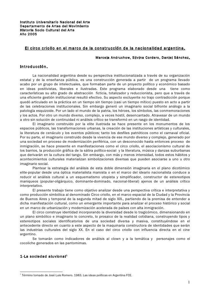 Instituto Universitario Nacional del Arte Departamento de Artes del Movimiento Historia Socio Cultural del Arte Año 2005  ...