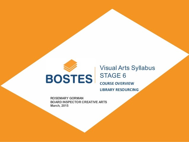 SUBTITLE DAY, MONTH, YEAR Visual Arts Syllabus STAGE 6 COURSE OVERVIEW LIBRARY RESOURCING ROSEMARY GORMAN BOARD INSPECTOR ...