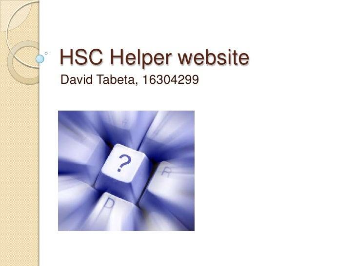 HSC Helper website David Tabeta, 16304299