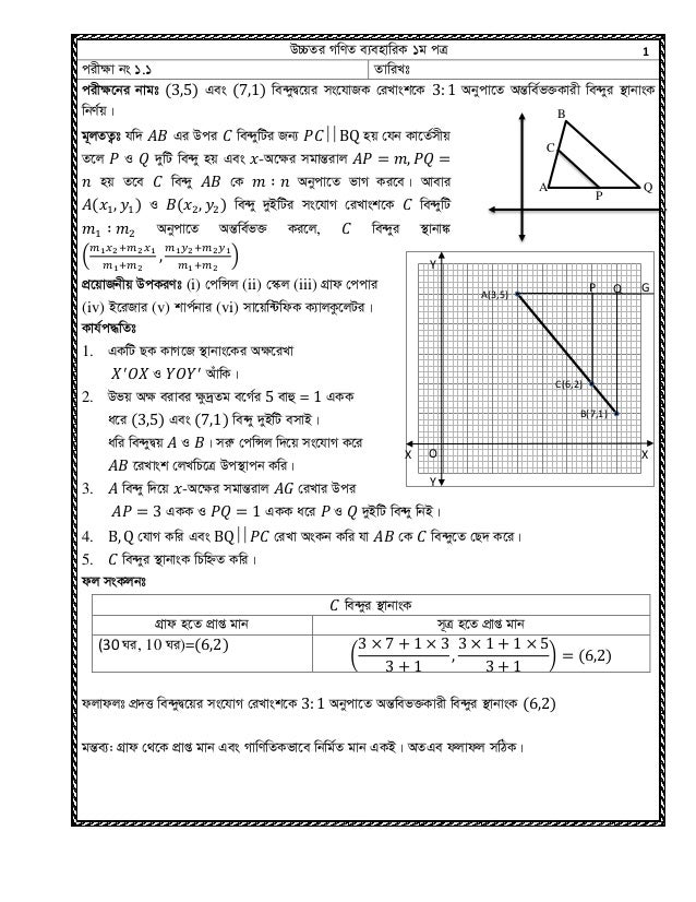 Hsc math practical 1st paper 2015 wg