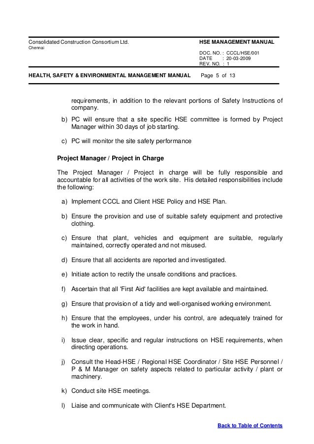 health and safety manual table of contents