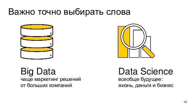 Важно точно выбирать слова 13 Big Data чаще маркетинг решений от больших компаний Data Science всеобще будущее: жизнь, ден...