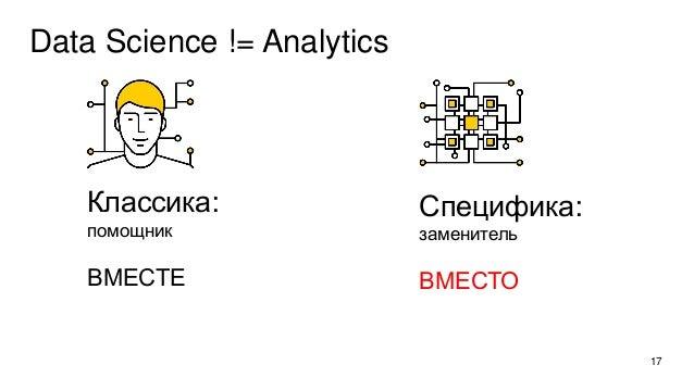 Data Science != Analytics 17 Классика: помощник ВМЕСТЕ Специфика: заменитель ВМЕСТО