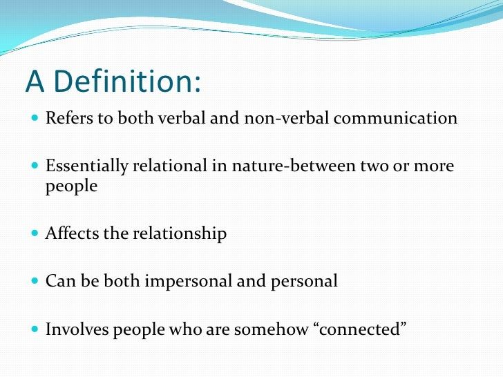 impersonal vs interpersonal communication