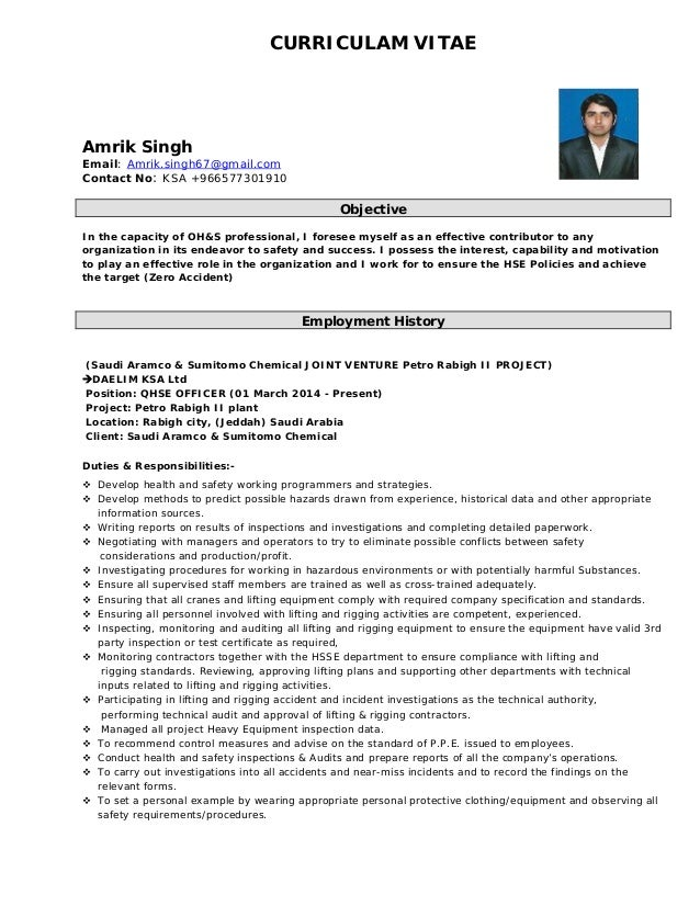 Safety advisor resume
