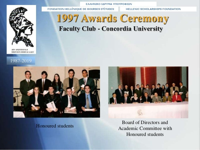 1997 Awards Ceremony Honoured students Faculty Club - Concordia University Board of Directors and Academic Committee with ...