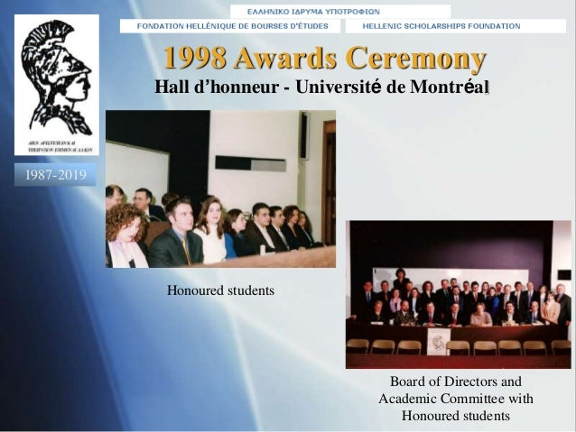 1998 Awards Ceremony Honoured students Board of Directors and Academic Committee with Honoured students Hall d'honneur - U...