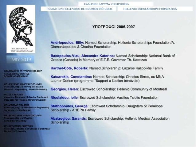 1987-2019 ΑΚΑΔΗΜΑΙΚΗ ΕΠΙΤΡΟΠΗ 2006-2007 ACADEMIC COMMITTEE COMITÉ ACADÉMIQUE DR. ROUSSOS DIMITRAKOPOULOS Professor, Dept. ...
