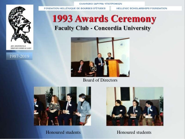 1993 Awards Ceremony Board of Directors Faculty Club - Concordia University Honoured students Honoured students 1987-2019