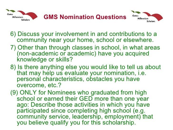 hispanic scholarship fund and gates millennium scholars program 10 gms nomination questions
