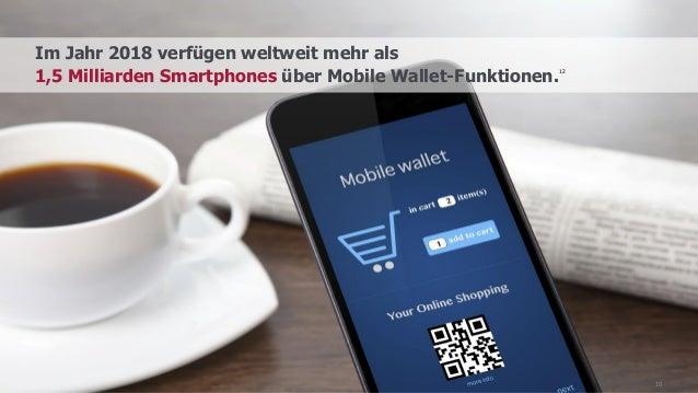 10 Im Jahr 2018 verfügen weltweit mehr als 1,5 Milliarden Smartphones über Mobile Wallet-Funktionen. 12
