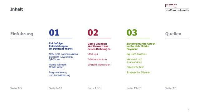 2 Inhalt Einführung Seite 3-5 01 Zukünftige Entwicklungen im Payment-Markt Near Field Communication Bluetooth Low Energy Q...